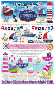 Kit Imprimible Nautica Candy Bar Fiesta Kit Imprimible