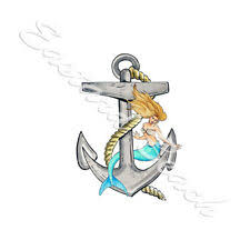 Nauti Anchor With Mermaid Vinyl Decal Car Truck Boat Cup