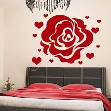 Shop Rose Hearts Love Flowering Blossom Stickers Vinyl Sticker Art Mural Bedroom Kids Room Decor Sticker Decal Size 22x26 Color Black Overstock 14756426