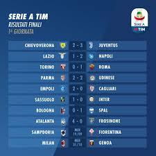 Serie A 2018-2019, 1ª giornata: risultati e classifica ...
