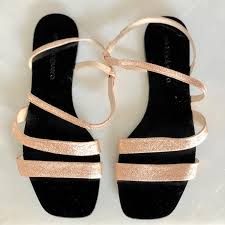rose gold leather sandals size 39 anna
