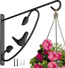 Amazon Com Amagabeli Hanging Plants Bracket 12in Wall Planter Hooks Hangers Flower Pot Bird Feeder Hanger For Fence Trees Wind Chimes Lantern Outdoor Indoor Patio Lawn Garden Shelf Fence Screw Mount Arm Black