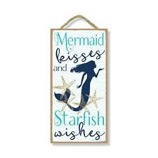 Mermaid Kisses Starfish Wishes Hanging Decorative Wood Sign Honey Dew Gift Shop