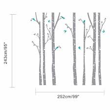7 White Birch Tree Wall Decals With Birds Removablevinyl Stickers Nu Frugal Frau