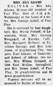 Obituary for ADA ADAMS (Aged 82) - Newspapers.com