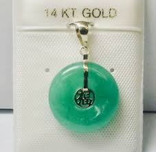 jade 14k solid gold chinese good luck