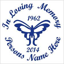 In Loving Memory Butterfly Car Wall Decal Sunburst Reflections