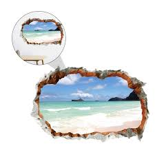 1pc 3d Stereoscopic Hole Wall Decal 3d Ocean Beach Painting Creative Waterproof Painting For Scene Layout Home Decor Wall Stickers Aliexpress