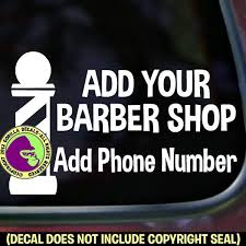Barber Shop Custom Pole Add Your Name Phone Vinyl Decal Sticker S Gorilla Decals