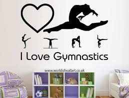 I Love Gymnastics Wall Sticker Gymnastics Room Decor Girls Room Design Gymnastics Room