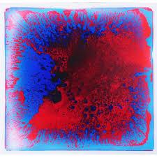 Unbranded Fancy Floor Tile Blue Red 19 7 In X 19 7 In Kids Room Liquid Encased Vinyl Sheet Floor Tile 2 7 Sq Ft H11hd001 The Home Depot