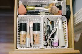 dollar makeup drawer organization