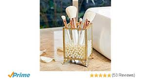 putwo makeup brush holder glass and