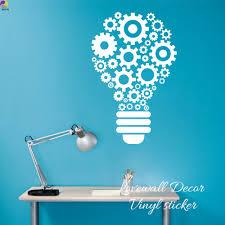 Steampunk Gears And Cogs Geometric Bulb Machine Wall Sticker Classroom Office Kids Room Lamp Light Teamwork Decal Vinyl Decor Aliexpress