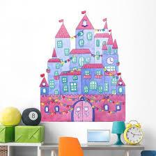 Beautiful Blue Cartoon Castle Wall Decal Wallmonkeys Com