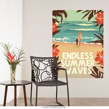 Endless Summer Waves Surfer Beach Wall Decal At Retro Planet