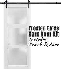 frosted glass barn door for a bathroom