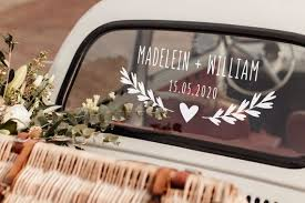 Car Wedding Decorations Vinyl Decal Sticker With Branches And Heart Wedding Car Wedding Car Decorations Car Decor