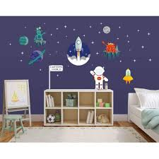 Picture Perfect Decals Peel And Stick Outer Space Kids Room Wall Stickers Aliens Stars Moon