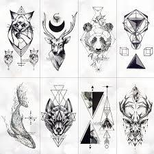 Geometria Fajna Tymczasowa Naklejka Tatuaz Damska Linia Prosta