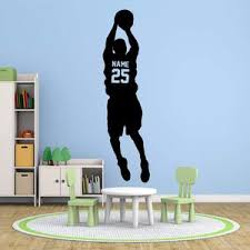 Vwaq Basketball Name Decals For Boys Room Personalized Sports Vinyl