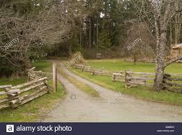 Driveway And Split Rail Fence On Pender Island Gulf Islands Bc Canada Stock Photo Alamy