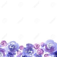 Fondo De La Flor De La Acuarela Linda Con Las Rosas Azules