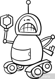 Fotobehang Boos Robot Cartoon Kleurplaat Pixers We Leven Om