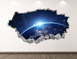 Earth Planet Wall Decal Space 3d Smashed Wall Art Sticker Etsy
