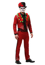 men s plus size red day of the dead costume