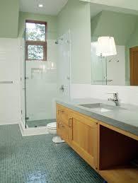 glass tile bathroom rustic mirror