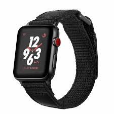 black nylon leather loop band for apple