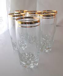 vintage gold striped drinking glasses