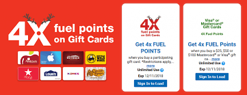 4x fuel points on gift cards at fry s