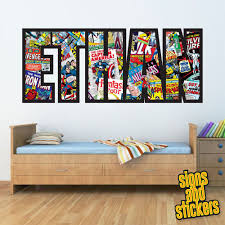 Childrens Personalised Name Wall Stickers Marvel Avengers Boys Girls Bedroom Art In Home Furniture Diy Home De Marvel Bedroom Marvel Room Girls Bedroom Art