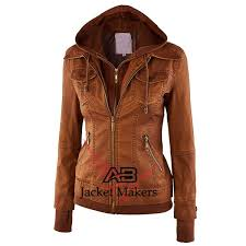 hooded faux leather moto biker jacket