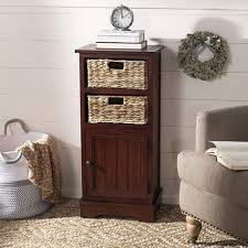 vintage cherry cabinet wood wicker