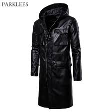 mens black long hooded leather jackets