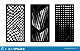 Laser Cutting Modern Abstract Dotted Decorative Vector Panels Set Privacy Fence Indoor And Outdoor Panel Cnc Decor Stock Vector Illustration Of Background Decorative 182879258