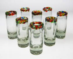 mexican shot glasses confetti rim set