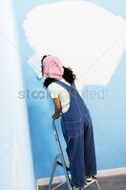 Woman standing on stepladder painting interior wall back view elevated view  Stock Photo - 1880934   StockUnlimited