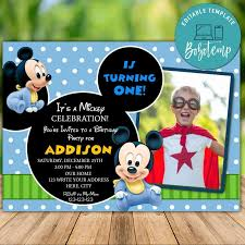 Invitacion De Cumpleanos De Mickey Mouse Editable Descarga