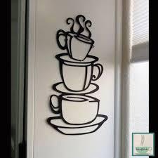 Black Metal Wall Art Tea Cup Coffee Mug Silhouette Hanging Kitchen Wall Stickers Sticker Decor Wall Stickers Home Decor