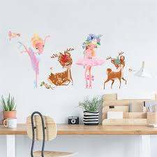 Wall Stickers Dancing Fairy Sika Deer Elf Creative Wall Sticker Butterfly Decoration Bedroom Decor Accessories Adesivi Murali Wall Stickers Aliexpress