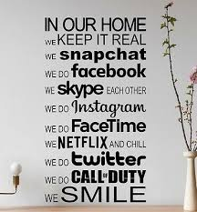 Large Modern In This House Rules Facebook Wall Art Sticker Decal Vinyl Transfer Ebay