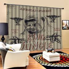 Monkey Curtains Kids Curtain Beige 3d Window Curtains For Living Room Bedroom Drapes Cortinas Customized Size Curtains Aliexpress