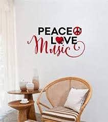 Peace Love Music Vinyl Decal Wall Sticker Words Lettering Home Decor Art Amazon Com Industrial Scientific