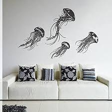 Amazon Com Wall Decal Vinyl Sticker Decals Art Decor Design Jellyfish Sea Ocean Deep Water Fish Scuba Bedroom Living Room Bathroom R264 Home Kitchen