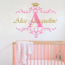 Personalized Name Initial Letter Wall Sticker Custom Girls Name Crown Baby Home Decor Nursery Children Room Vinyl Sticker W 62 Name Wall Stickers Wall Stickerwall Sticker Name Aliexpress