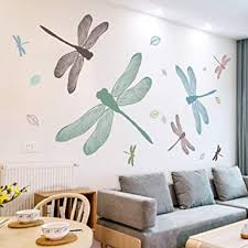 Amazon Com Su Hin Dragonfly Wall Stickers Fresh Wallpaper For Bedroom Bedside Decorative Creative Living Room Sofa Background Wall Stickers A 150x250cm 59x98inch Furniture Decor